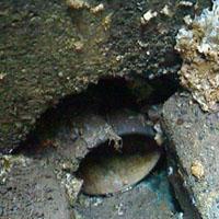排水管の上部部分が穴があいてしまっている